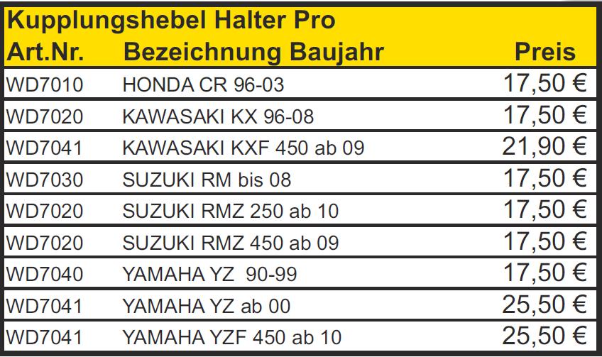 Trial-Enduro-Shop-WRP-Kupplungshebel-Halter-Pro-WD7010-Tabelle