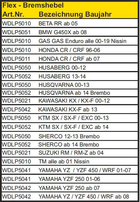 Trial-Enduro-Shop-Flex-Bremshebel-WDLP5010-Tabelle
